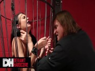 Deviant Hardcore - Hot Busty Alektra Blue Gives Blowjob While In The Cage