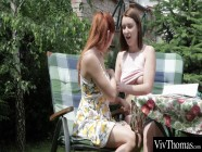 Gorgeous redhead licks her lesbian lover's hot pussy to orgasm