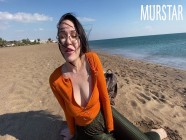 The bitch was excited by an interactive toy and sucked on the beach || Murstar