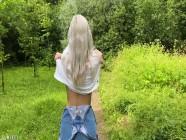 Walking with cum in my panties after the sex in a public park - Eva Elfie
