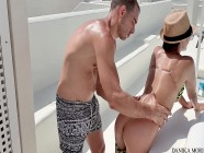 Sun bath 69! Deep throat, hard sex, squirting and cumshot in terrace