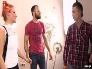 Polish redhead milf banged by three guys