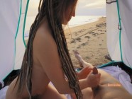 Real amateur couple have sex at Public Beach Hot Outdoor Creampie
