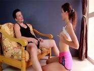 Submissive girlfriend deepthroats her boyfriends cock