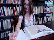 Teen College Slut masturbates in public library